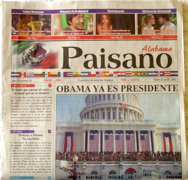 "<cite>Paisano Alabama</cite> was more circumspect: ""Now Obama is president"" <em>(Obama ya es presidente)</em>. A short editorial in the left column begins, ""Message to Obama: Don't let us down."" <em>(No nos falles.)</em>"
